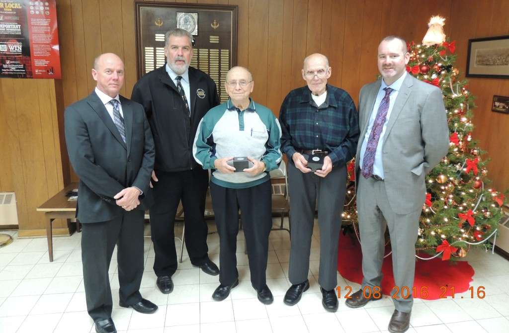 60 Year Members Pictured from left to right are:  Lo. 3 Field Representative Matt Aberl, Director Ken Kudela, Merwin Speweike, George Johnson & Secretary/Treasurer Don Huss.