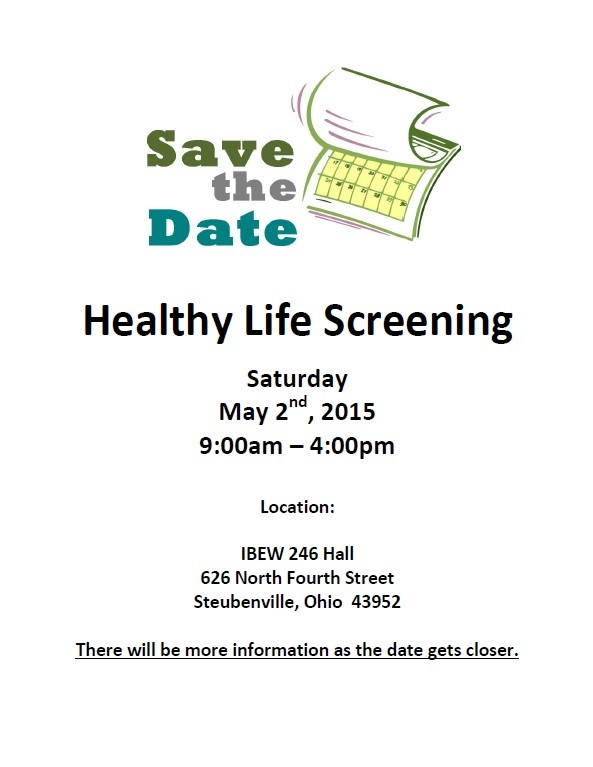 Save the Date Healthy Life Screening