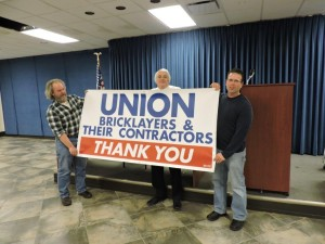 From Left to Right we have: Brother Mike Kennedy, President Joe Coreno & Brother Denny Rahe. They are proudly showing members of Local 5 Ohio one of ten banners that will soon be displayed on or near various jobsites around the Cleveland area.