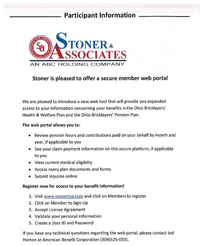 Stoner Web Portal Info