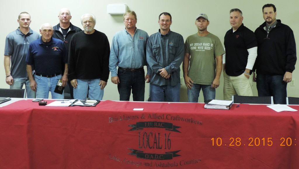 Left to right:  Sgt. at Arms Ray Henderson, Tyrone Brininger, Vice President Rich Bacurin, Greg Barks, Robert Babic, Stephen Phillips,  David Yerse, Recording Secretary Mike Dodge & President Dan Musacchio.