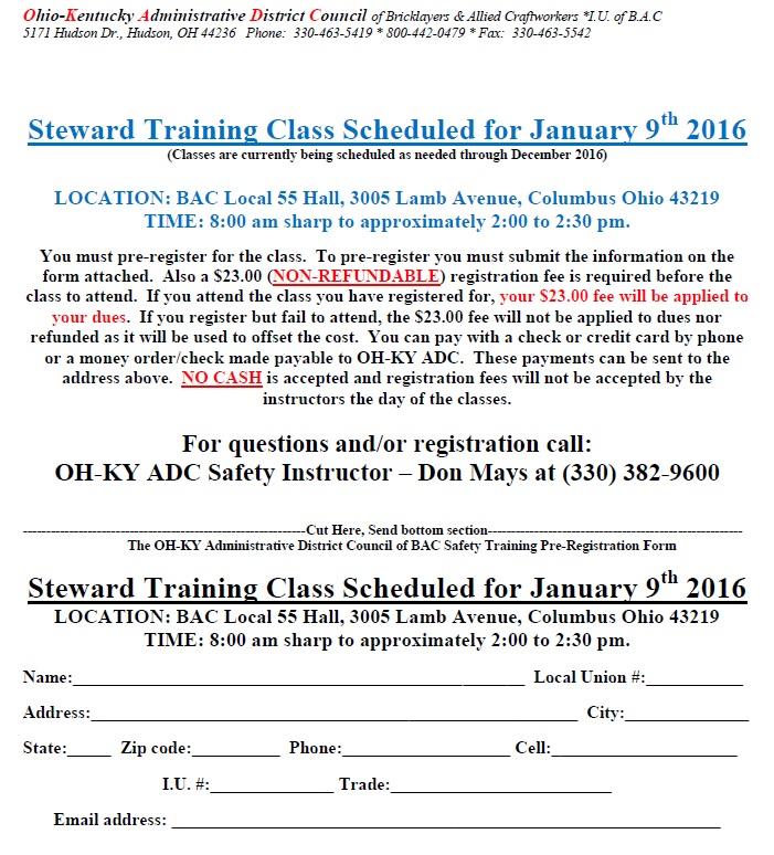 Local 55 Steward Class Flyer