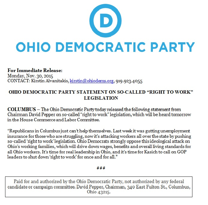 Press release ohio democratic party statement on so called right press release statement on so called right to work legislation thecheapjerseys Images