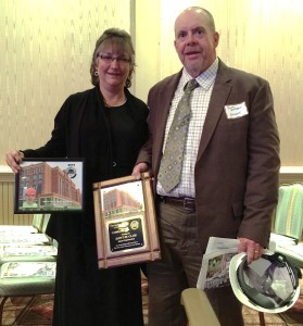 On November 19th, 2015 Local 55 member Scott St. Clair received an award for BX Craftsman of the Year for the Ohio State University NRDT Building (building J dorms).  Here he is with is wife Cindy at the BX Awards ceremony.