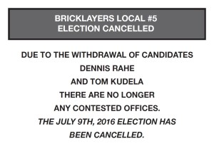 Local 5 Election Cancellation