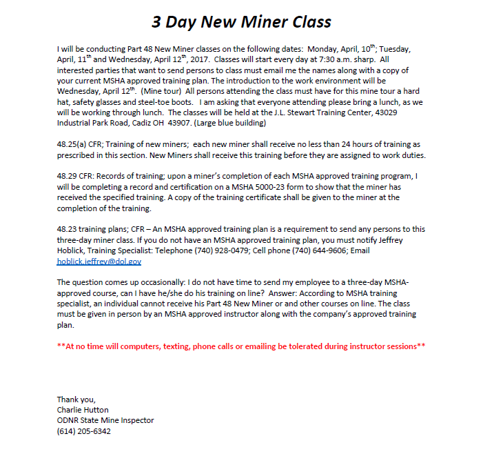 3 day miner class being offered – ohio kentucky adc